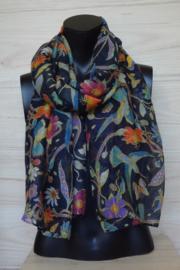 sjaal zwart met kolibries