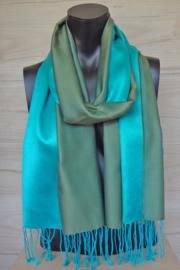 Zijden sjaal mosgroen/aquablauw