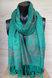 sjaal zeegroen paisley