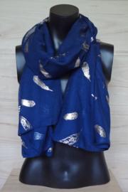 sjaal blauw met veertjes