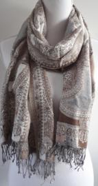 Sjaal geweven in bruin en wit