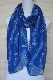 sjaal blauw met muzieknoten