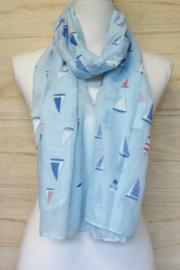 sjaal met nautische print  lichtblauw