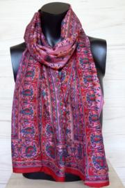 zijden sjaal met bloem en bladmotieven