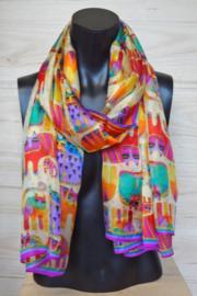 sjaal lichtgeel-multicolor