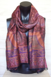 sjaal bruin met ingeweven dessin