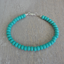 armband van turquoise rondellen