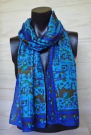sjaal koningsblauw met egyptische figuurtjes