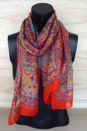 zijden sjaal oranje met olifantjes