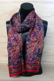 zijden sjaal rood met print