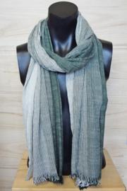 katoenen sjaal streepjes groen-wit