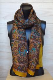 zijden sjaal multicolor okergeel