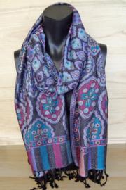 sjaal paars met bloemen