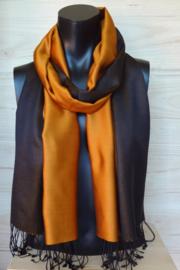 Zijden sjaal oranje/zwart