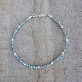 Armband van kristalglas grijs-groen