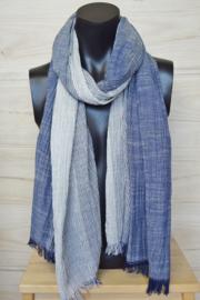 katoenen sjaal streepjes donkerblauw-wit