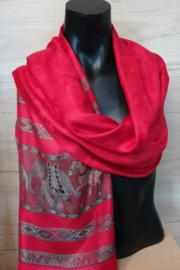 zijden sjaal rood met randen