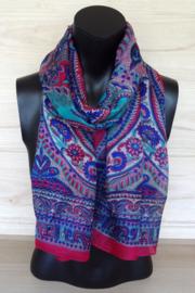 zijden sjaal roze met paisley dessin