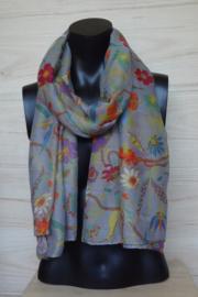 sjaal grijs met kolibries