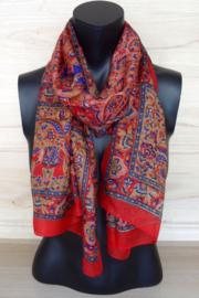 zijden sjaal rood met olifantjes