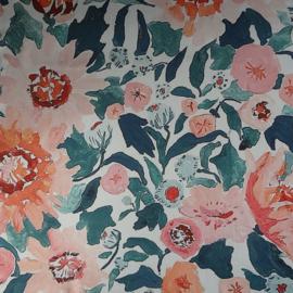 sjaaltje, bandana, bloemen abrikooskleur