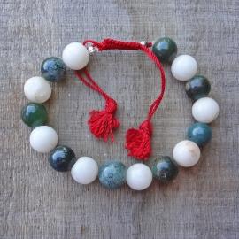 Armband van groene en witte  agaat.