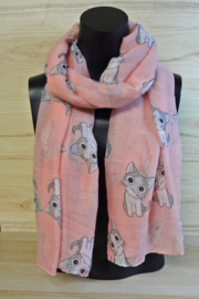 Sjaal roze met katjes