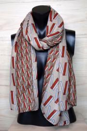 sjaal bruin beige grafisch patroon