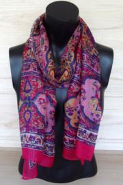 zijden sjaal roze met bloemen en olifantjes