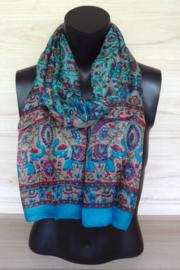 zijden sjaal aqua blauw met olifantjes