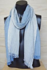 katoenen sjaal streepjes blauw-wit