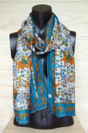 zijden sjaal met valkenjacht figuurtjes