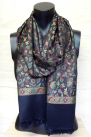 sjaal zwart met bloemen