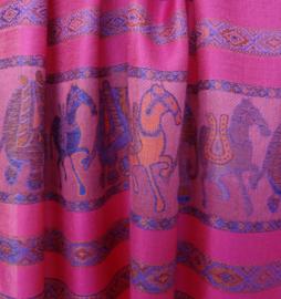 sjaal fel roze met randen