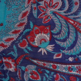 sjaal donkerblauw met bloemmotief