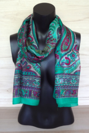 zijden sjaal groen met paisley print