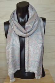sjaal zilverwit met pastelkleuren