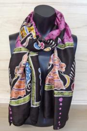 zijden sjaal zwart gebatikt