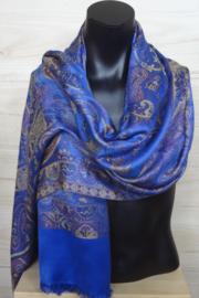 zijden sjaal paisley blauw paars