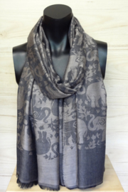 sjaal grijs met olifantjes
