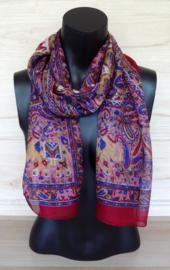 zijden sjaal wijnrood met olifantjes