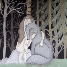 sjaaltje, bandana, met de wolf