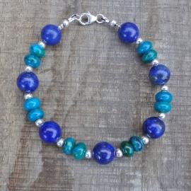 Armband van lapis lazuli, chrysocolla en zilveren kraaltjes