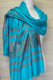 sjaal aqua blauw met randen