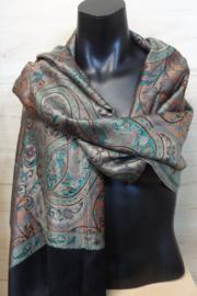 zijden sjaal multi color/zwart