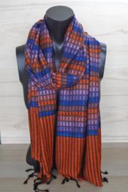 sjaal oranje met blokjes en strepen