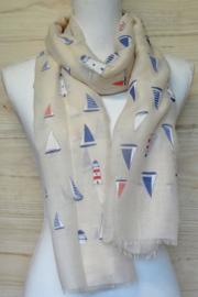 sjaal met nautische print  beige