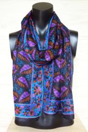 zijden sjaal zwart met blaadjes