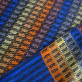 Sjaal blauw met blokjes en strepen