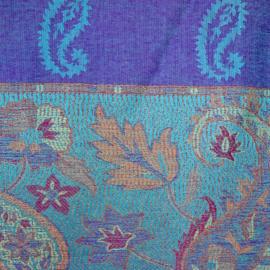 sjaal blauw met randen
